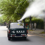 LR 4P machine spraying city tree